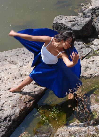 swirled blue dress